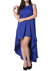 Crew Neck  Plain Plus Size Midi & Maxi Dresses