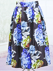 Inverted Pleat Floral Printed Flared Midi Skirt