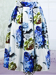 Inverted-Pleat-Floral-Printed-Flared-Midi-Skirt