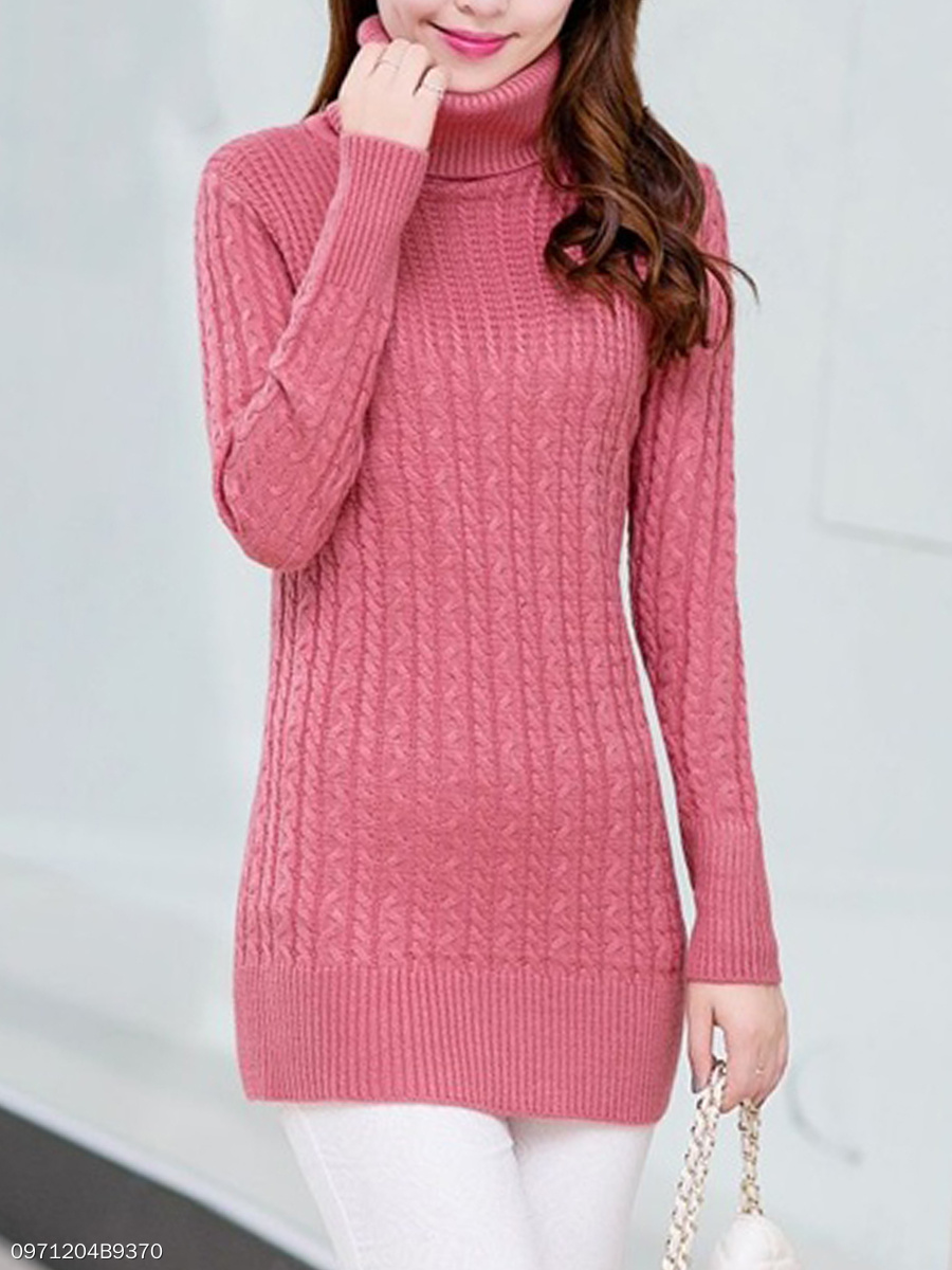 Turtleneck  Embossed Plain Sweater