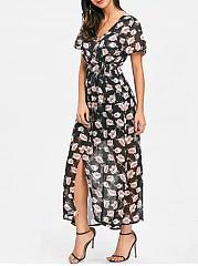 V-Neck-Printed-Polyester-Maxi-Dress