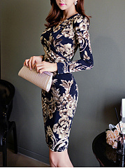Gorgeous Floral Printed V-Neck Bodycon Dress