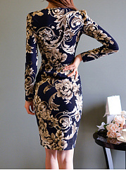 ... Gorgeous Floral Printed V-Neck Bodycon Dress ...