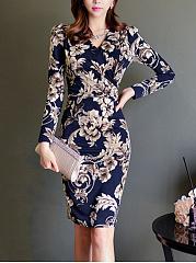 Gorgeous-Floral-Printed-V-Neck-Bodycon-Dress