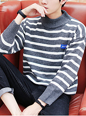 Men'S Striped High Neck Sweater