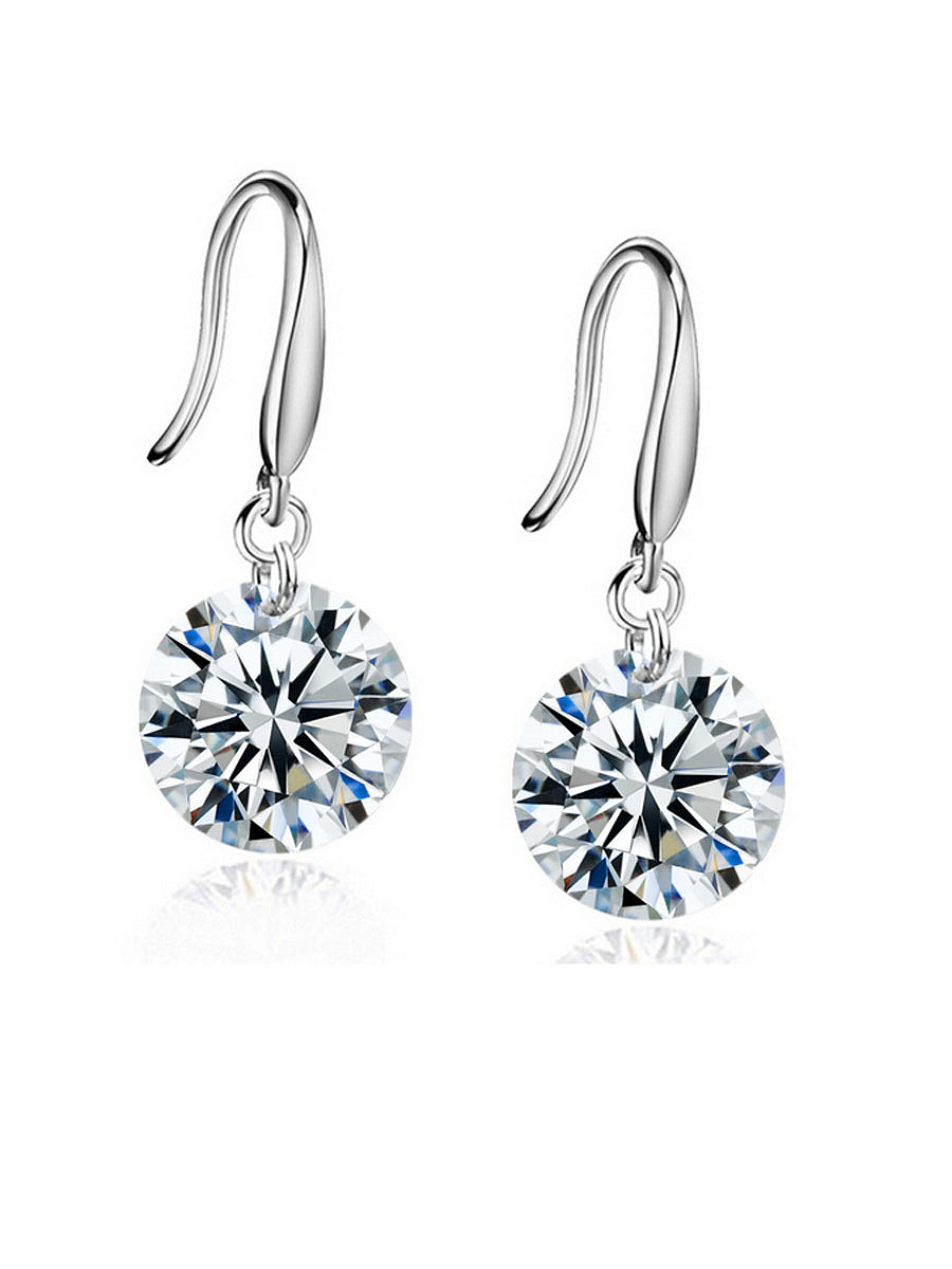 Pair Of Alloy Rhinestone Drop Earring