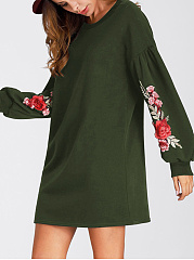 Round Neck  Embroidery Shift Dress