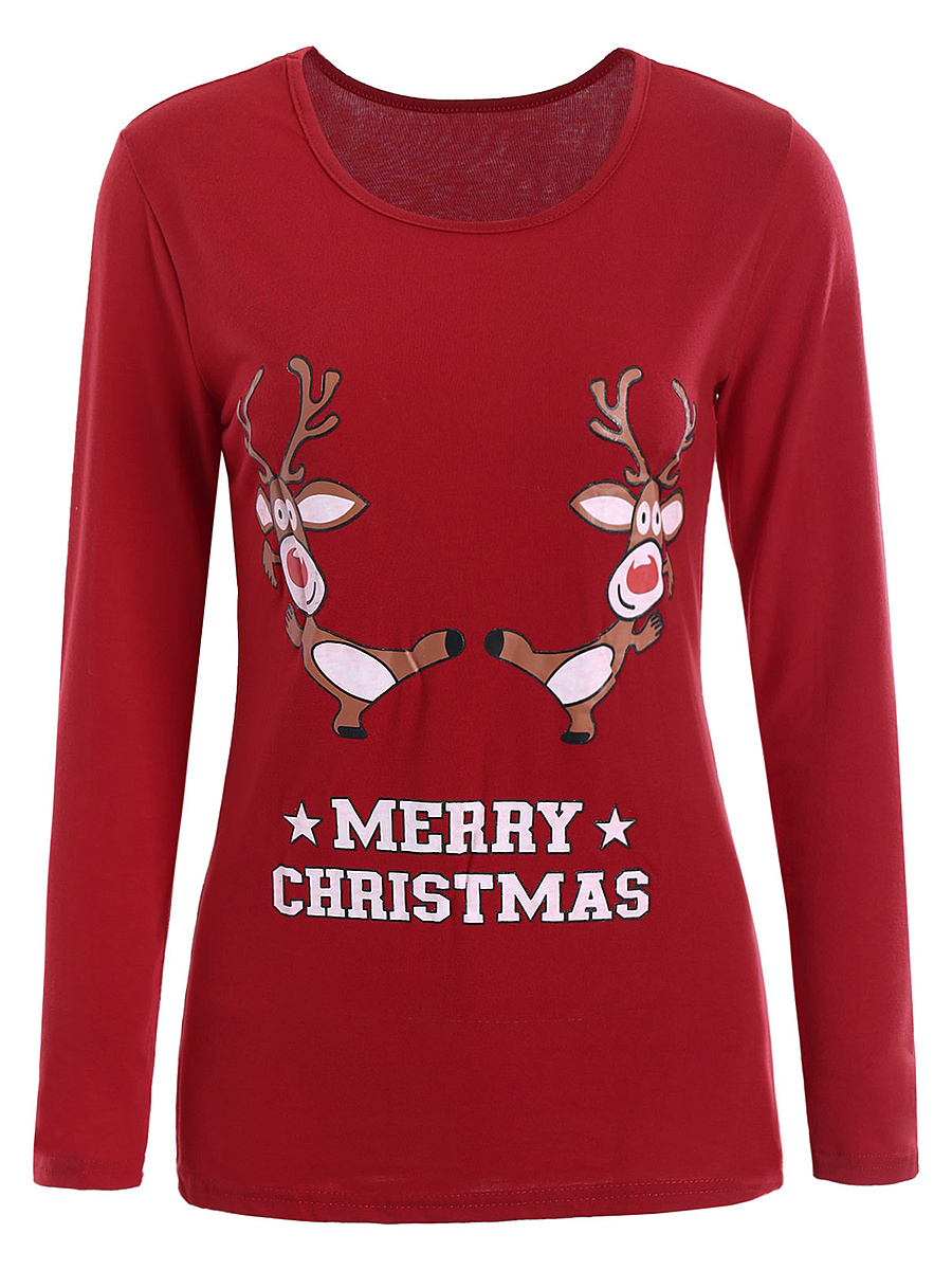 Christmas Reindeer Printed Long Sleeve T-Shirt