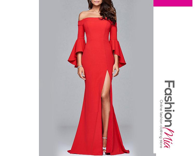 Off Shoulder High Slit Plain Bell Sleeve Maxi Dress 099BC87BBDFE