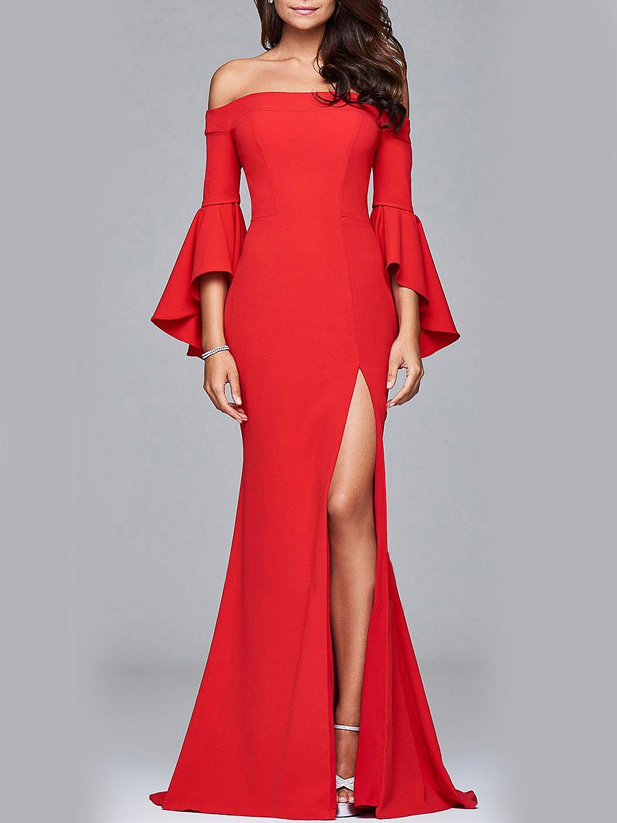 Off Shoulder High Slit Plain Bell Sleeve Maxi Dress