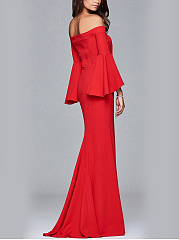 Off Shoulder High Slit Plain Bell Sleeve Maxi Dress