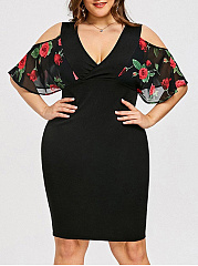 V-Neck  Patchwork Plus Size Bodycon Dresses