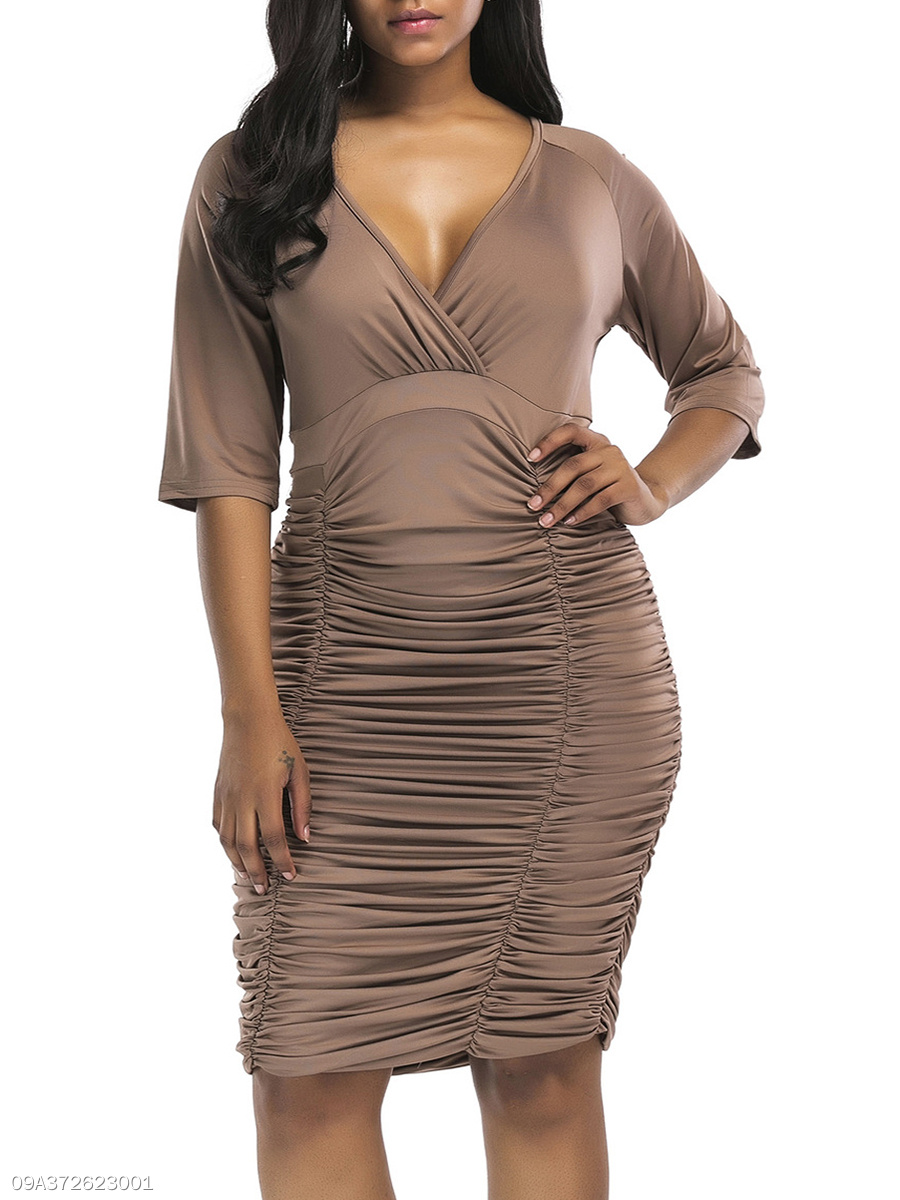 3bddeb17a43c1 Deep V-Neck Plain Plus Size Bodycon Dresses - fashionMia.com