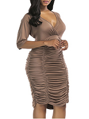 Deep V-Neck  Plain Plus Size Bodycon Dresses