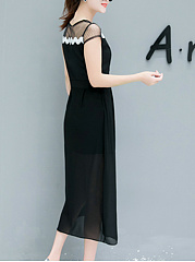 Round Neck  Contrast Trim Side Slit  Plain Maxi Dress