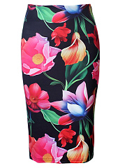 Floral Printed  Pencil Midi Skirt