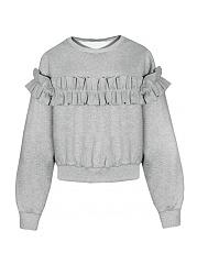 Ruffle-Trim-Plain-Round-Neck-Sweatshirts