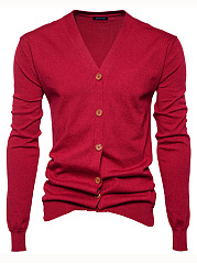 Basic Single Breasted Plain Men'S Cardigan
