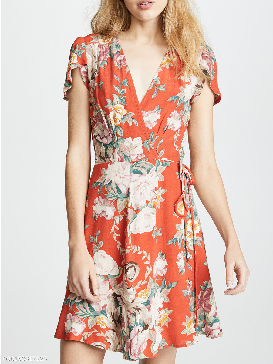 Surplice  Printed Skater Dress