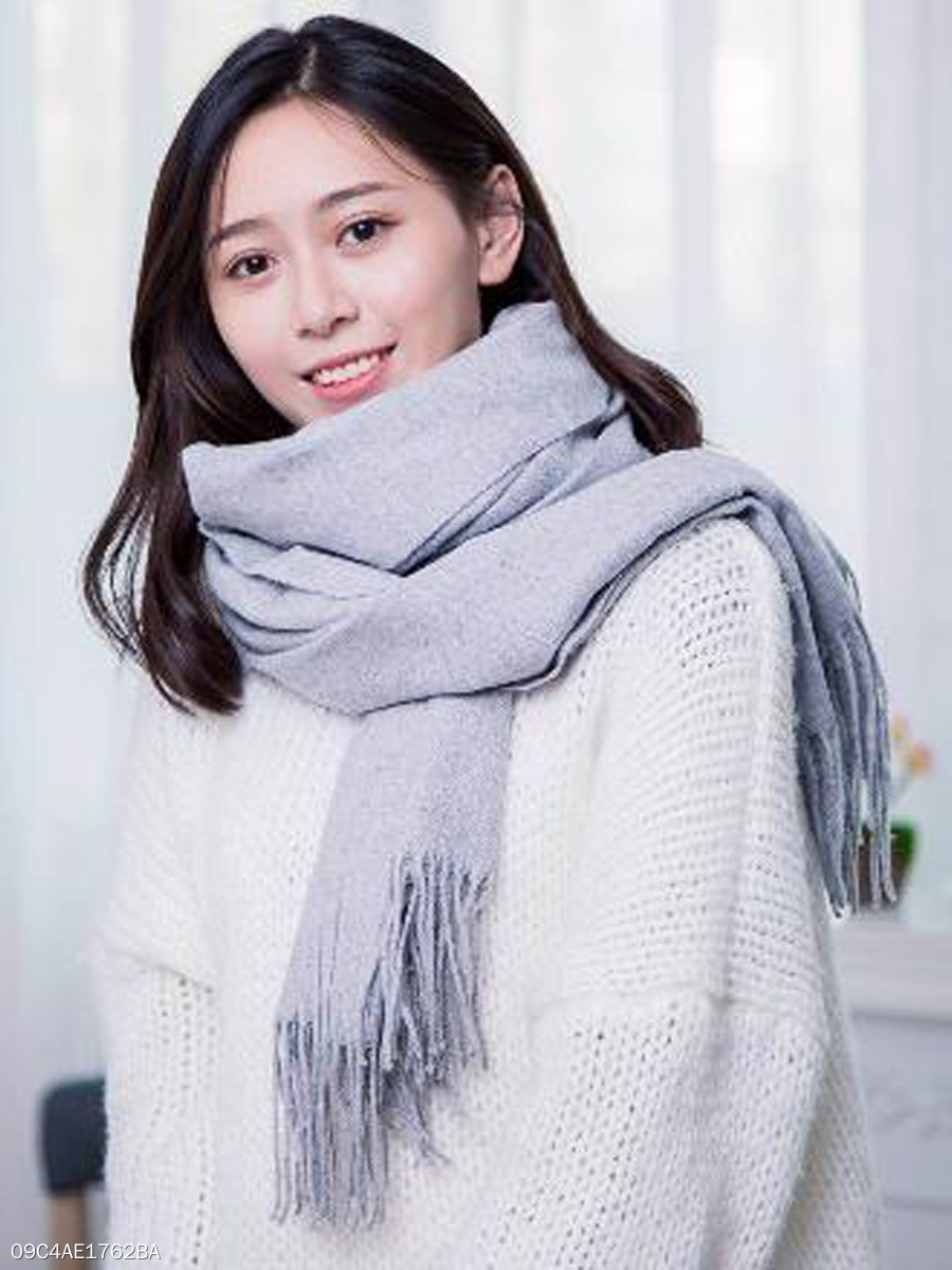 Lady Fashion Woolen Tassel Decoration Plain Scarves