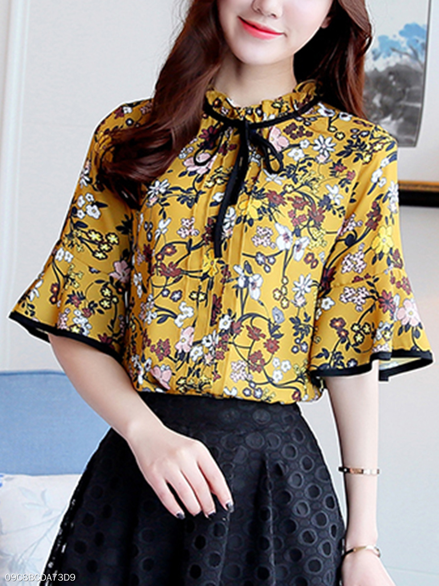 Band Collar Floral Printed Bowknot Bell Sleeve Chiffon Blouse