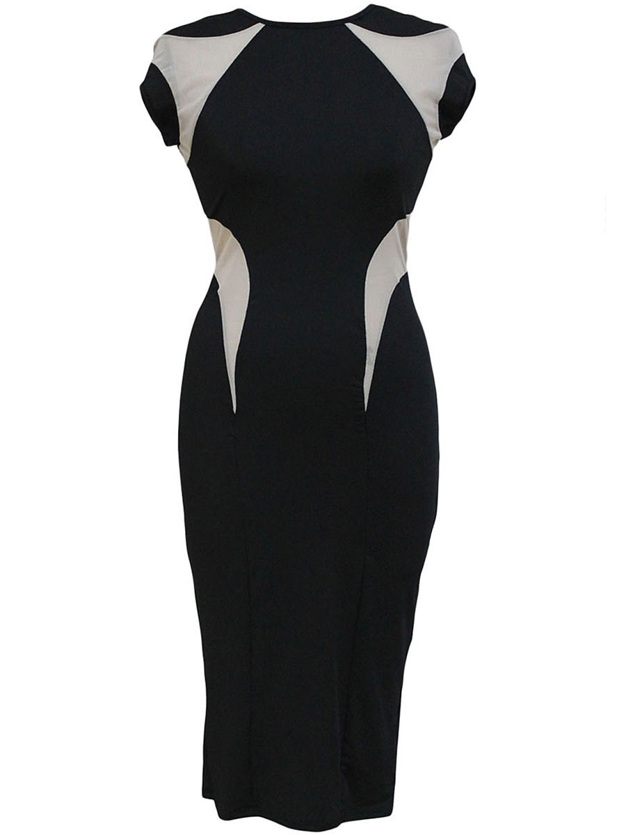 Round Neck  Patchwork  Color Block  Polyamide Bodycon Dress