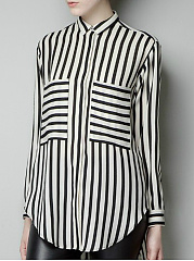 Autumn Spring  Polyester  Women  Turn Down Collar  Patch Pocket  Striped  Long Sleeve Blouses