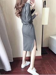 Drawstring  Plain Round Neck  Shift Dress
