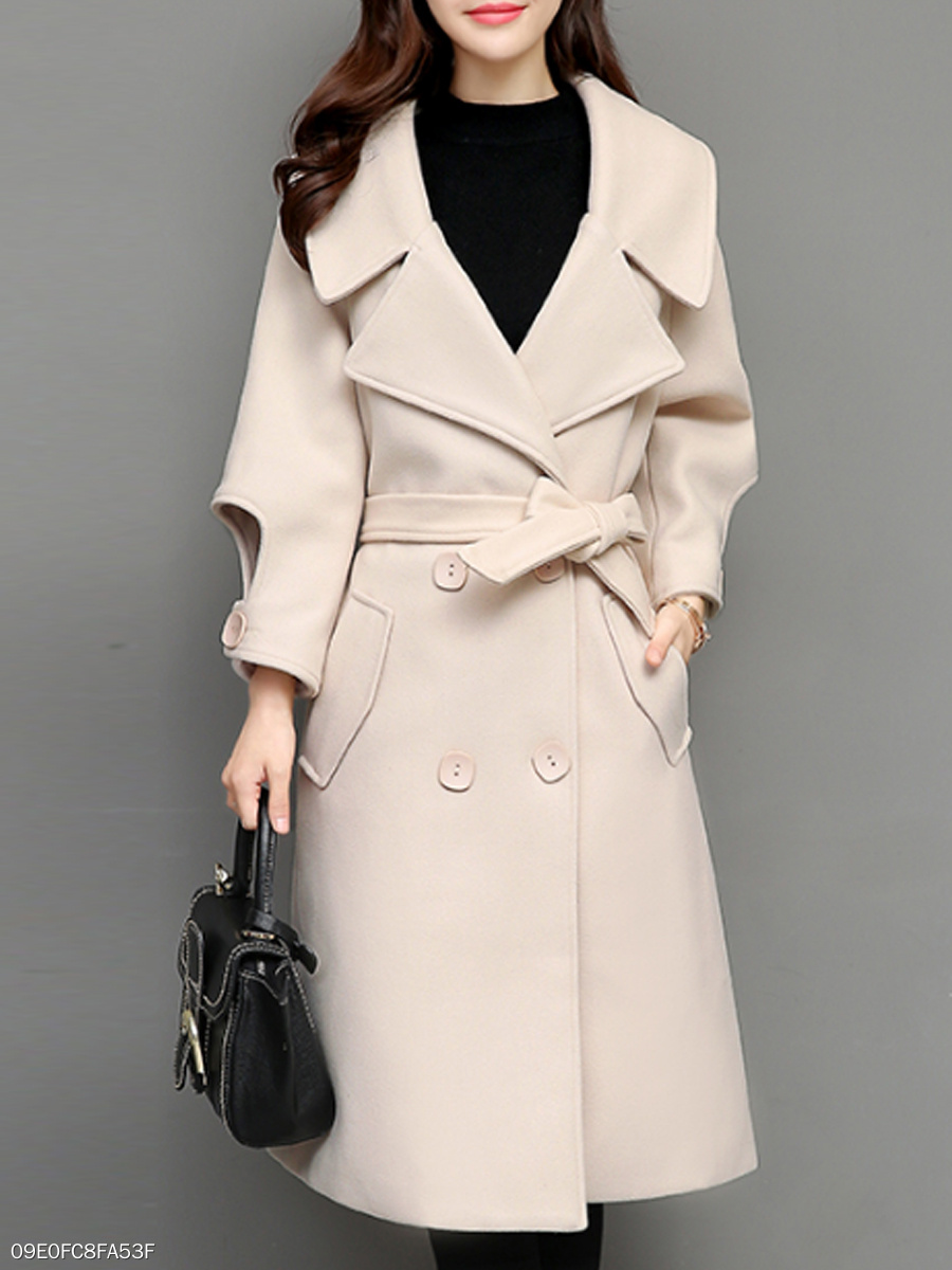 Lapel  Double Breasted  Belt Belt Loops  Plain  Long Sleeve Coats