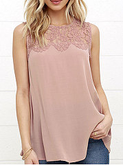 Summer  Polyester  Women  Round Neck  Decorative Lace  Plain  Sleeveless Blouses
