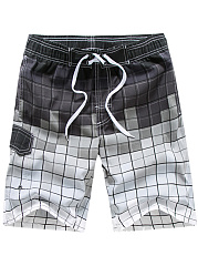 Drawstring Elastic Waist  Gradient  Straight  Mid-Rise Board Shorts