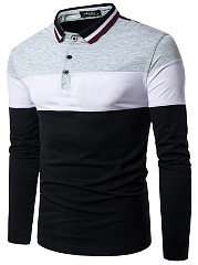 Polo Collar  Color Block Striped  Long Sleeve Polos