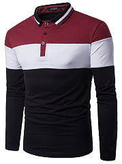 Polo Collar Men Color Block Striped T-Shirt