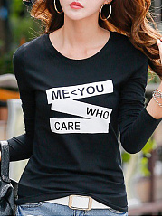 Autumn Spring  Cotton  Women  Round Neck  Color Block Letters Long Sleeve T-Shirts