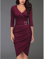 Surplice  Ruched  Chain  Plain Bodycon Dress