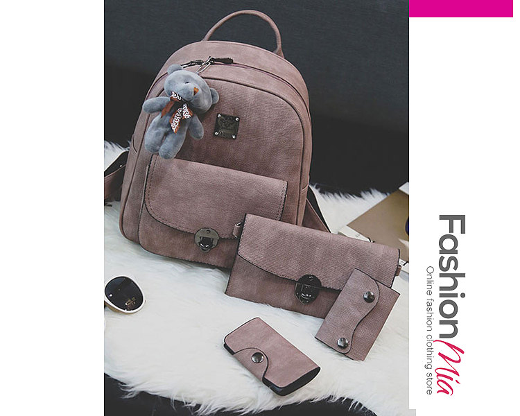 Three Pieces Plain Chic Backpacks For Women