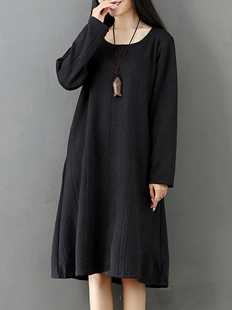 Round Neck Plain Embossed Knitted Shift Dress