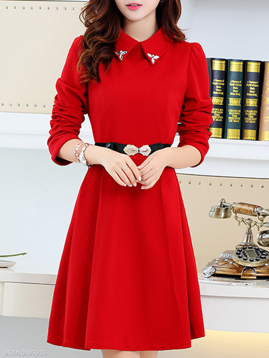 Turn Down Collar  Beading Ruched Ruffled Hem  Plain Skater Dress