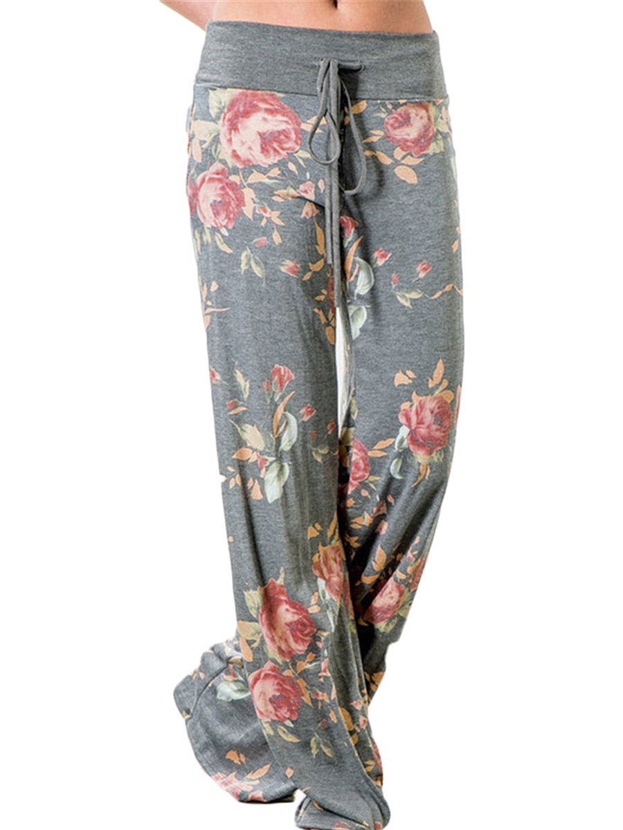 Floral Printed Drawstring Wide-Leg Casual Pants
