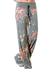 Floral-Printed-Drawstring-Wide-Leg-Casual-Pants