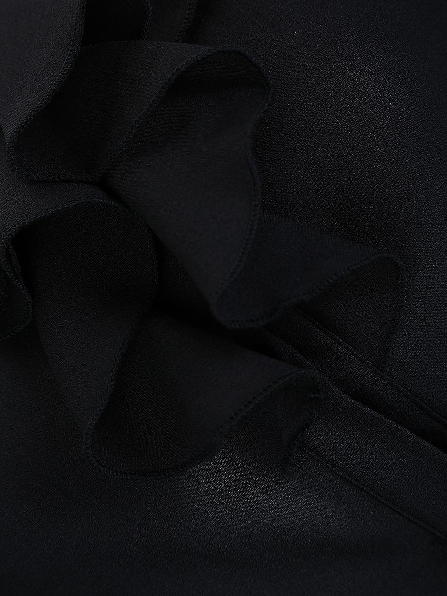 Round Neck  Flounce  Plain  Short Sleeve Blouses