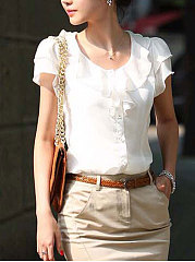 Summer  Chiffon  Women  Round Neck  Flounce  Plain  Short Sleeve Blouses