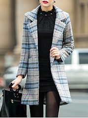 Fold-Over Collar  Plaid  Long Sleeve Coats