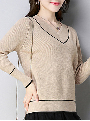 V-Neck  Contrast Piping  Plain  Long Sleeve Knit Sweaters Pullover