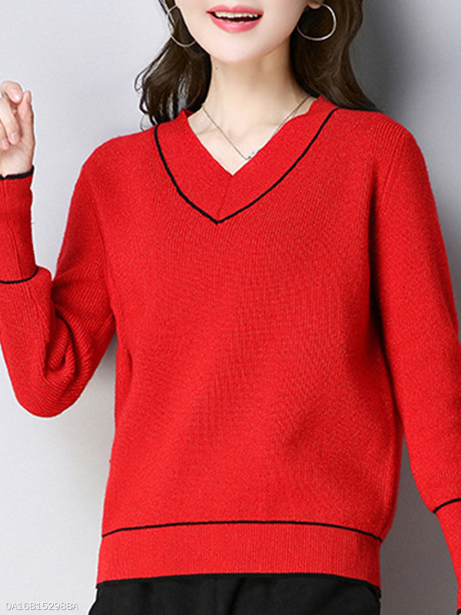 10d3dfbd1945 ... Contrast Piping Plain Long Sleeve Knit Sweaters Pullover. V-Neck ...
