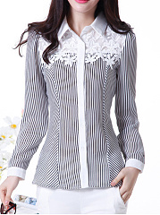 Turn Down Collar  Decorative Lace  Striped  Long Sleeve Blouses