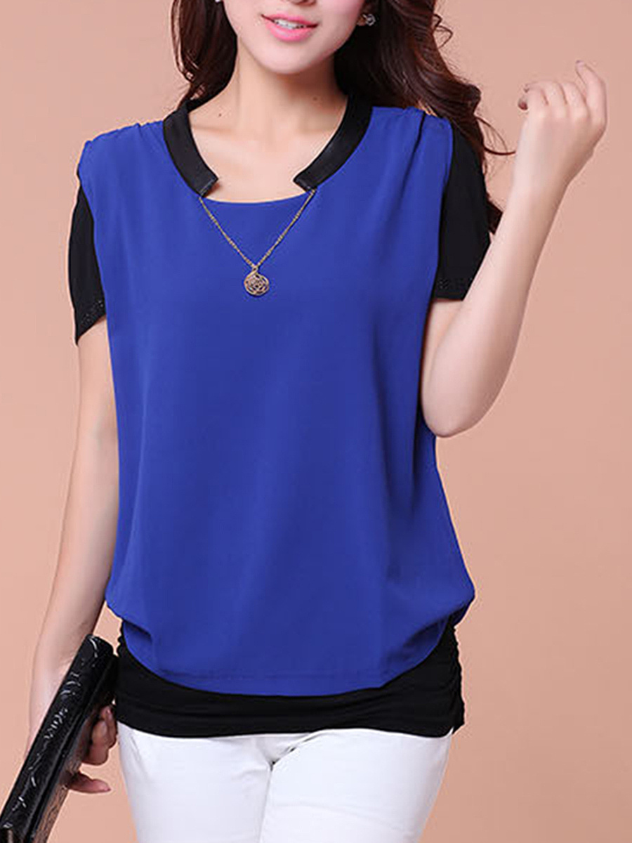 Color Block Necklace Short Sleeve T-Shirt