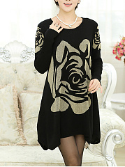 Round Neck  Printed  Blend Shift Dress