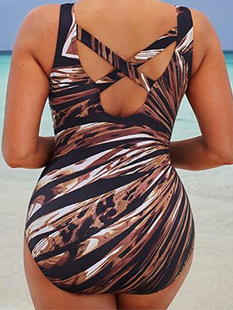 Abstract Print Plus Size Beachwear