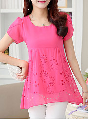 Spring Summer  Polyester  Women  Round Neck  Asymmetric Hem  Hollow Out Plain  Short Sleeve Blouses